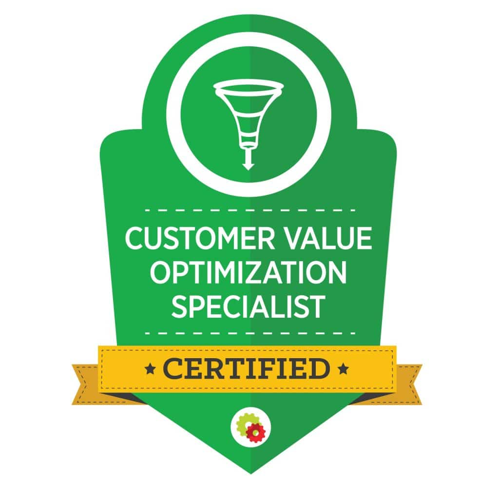 green graphic for certified customer value optimization specialist with marketing funnel image