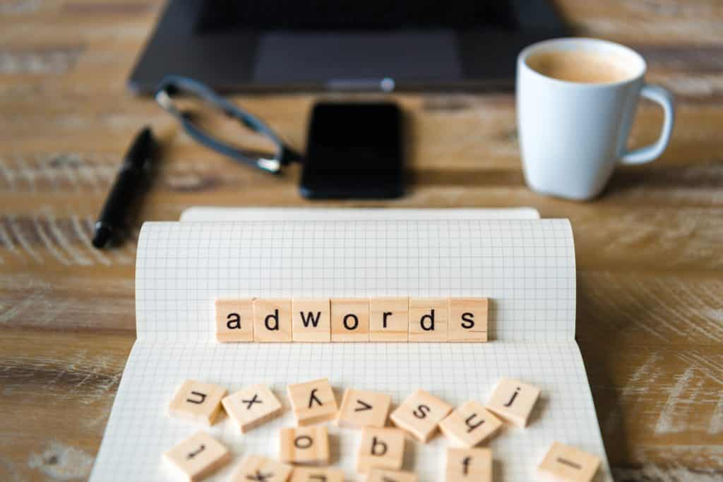 adwords in wooden block letters