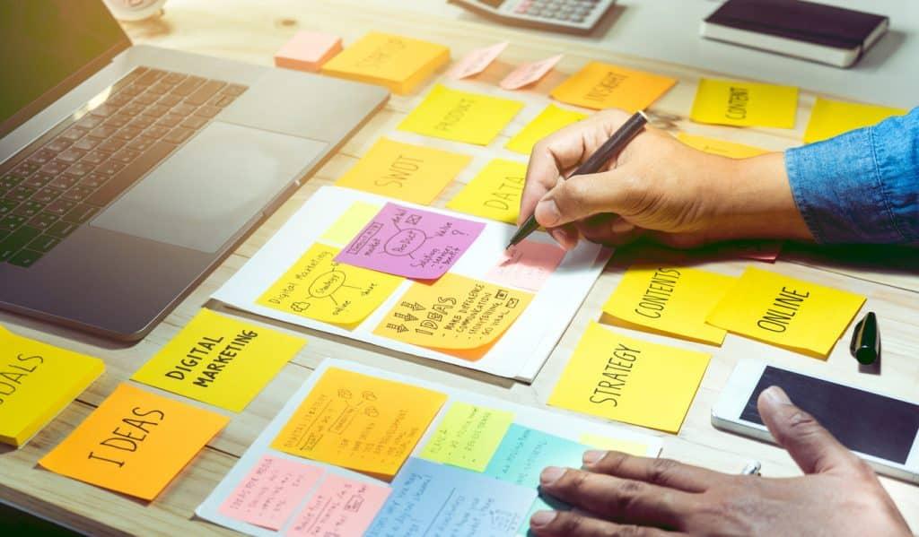 marketing strategy on sticky notes